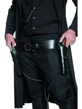 WESTERN COWBOY COSTUME DOUBLE HOLSTER ADULT MENS BLACK GUNMAN GUN BELT & HOLSTER