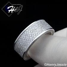 MEN 925 STERLING SILVER FULL ICED LAB DIAMOND 9MM WEDDING BAND RING*SR78