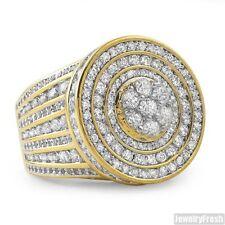 14K Gold Sterling Silver Jumbo CZ Medallion Mens Ring