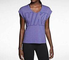 NEW NIKE WOMENS DRI-FIT CLUB BOXY LOGO T-Shirt TOPS COURT PURPLE 638900 526