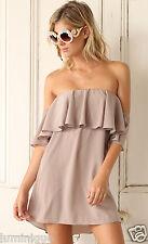 Off Shoulder Party Dress Beige S 8 10 6 M 12 Satin Feel BOHO Shift Quality Cold