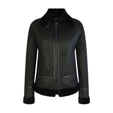 Neues AngebotDamen klassisch schwarz echt LAMMFELL Reißverschluss Flying Jacke b3 Pilot Mantel Tailored Fit