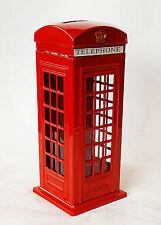 British Style Telephone Booth Metal Piggy Money Bank Kids Coin Saving Pot Box
