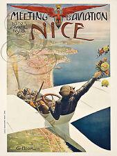PLAQUE ALU DECO AFFICHE MEETING AVIATION AVRIL 1910 NICE COTE AZUR MEDITERRANEE