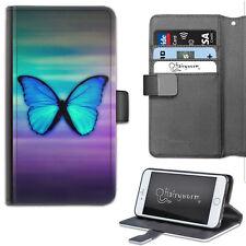Hairyworm púrpura y azul mariposa de Lujo de Cuero Billetera Teléfono Estuche, Flip Case