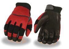 Men's Red Leather/Mesh Racing Sportbike Glove w/ Wrist Strap & Flex Knuckles