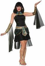 Fantasy Cleopatra Egyptian Queen Black Fancy Dress Up Halloween Adult Costume