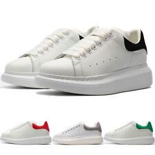 Men's Women's McQueen Lace Up Platform Sneakers White Black Casual Sneakers Shoe