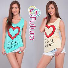 Women's Casual Vest Top Heart Print 100% Cotton Party T-Shirt Sizes 8-14 B16