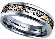 Nuevo En Caja De 6 Mm Carburo De Tungsteno Oro Celta Dragon Embutido Para Hombre Anillo de bodas de
