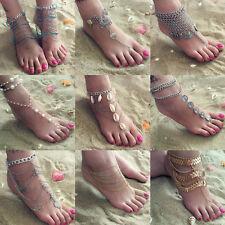 Women Lady Bead Silver Chain Anklet Toe Ring Bracelet Barefoot Sandal Beach Foot