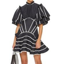 Occident Womens Blue Polka Dot Dress Short Sleeve Backless Summer Party Dress