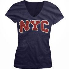 NYC Distressed New York City Big Apple Manhattan Yorker Juniors V-Neck T-Shirt