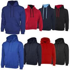 Unisex Plain Hoodie Sweatshirt Ladies Mens Hooded Fleece Blank Top Jumper S-XXL