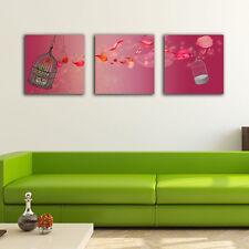 Set Of 3 Birdcage Flower Stretched Canvas Prints Framed Wall Art Home Decor