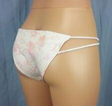 LA Hearts Side Strappy Cheeky Bikini Bottom  -  Shiny Pink Floral