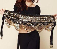 Belly Dance Costume Hip Scarf Tribal Triangle Belt Skirt Velvet Gold coins UK