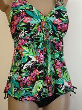 Tankini Set A-Form Damenbademode Gr.42-50 Kleidchenform Tropenblumen Palmen
