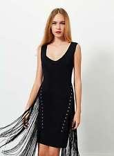 NEW MISS SELFRIDGE EYELET FRINGE KNITTED BODYCON DRESS PARTY BOHO FESTIVAL LOOK