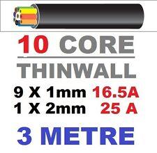 10 CORE AUTO CABLE 1.0mm 16.5 AMP CAR WIRE 3 METRES MULTICORE AUTOMOTIVE  3M