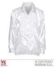 década de los 70 80 Años VOLANTES Disco Camisa Retro satén, Hombre Blanco ml, XL