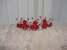 Nuevo stylebeautiful rojo rosa y plata bolas de cristal Tiara