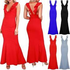 Womens Ladies Plunge V Neck Sleeveless Peplum Frill Stretchy Bodycon Maxi Dress