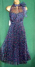 New MONSOON 8-22 Blue DOTTIE Polka Dot Pleated Mesh Fit&Flare Evening Prom Dress