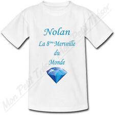 T-shirt Enfant La 8ème Merveille du Monde Bleu avec Prénom Personnalisé