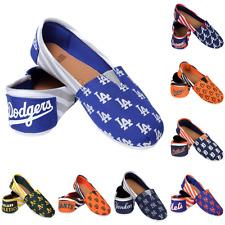 MLB Baseball Team Logo Womens Slip On Canvas Shoes - Choose Team