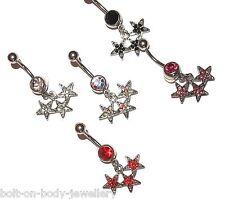Triple Estrellas Piercing Para Ombligo Con Gemas - 5 Colores