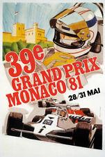 AZ10 Vintage 1981 Monaco Grand Prix Classic Motor Racing Poster RePrint A2/A3