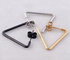 plated Triangle Geometry Earring Hoop 1 piece Women Stainless Steel Titanium