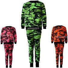 Kids Girls Neon Pink Orange Green Camouflage Print Tracksuit Age 2-13 years