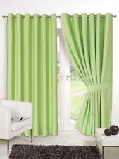 Sage Green Supersoft  BLACKOUT Thermal Curtains in Ring Top / Eyelet  + Tiebacks