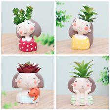 Cute Girls Head Flower Planter Flowerpot Succulent Plant Pot Home Garden Decor