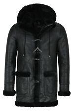 Men's Leather Sheepskin Duffle Coat Black / Black Fur Hooded 100% Shearling Ivar