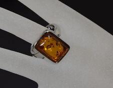 Luxus Ring Bernstein XL Edelstein-Ring Finger Ringe Breit 20 X 14 mm Versilbert