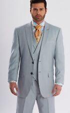 Mens Steven Land 3 PC Suit Windowpane Vested light Blue/Lav/Tan  Riley SL77-258