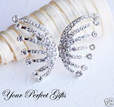 Rhinestone Crystal Butterfly Silver Brooch Pin Clip