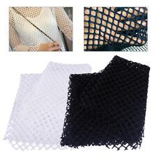 170 x 50cm Black / White Fish Net Mesh Fabric Effect Stretchy Large Holes Craft