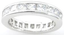 2.5 CT .925 STERLING SILVER PRINCESS CUT ETERNITY WEDDING BAND RING SZ 5 6 7 8 9