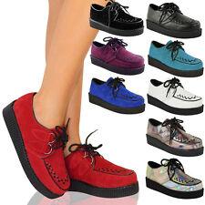 Damen Schuhe Gothic Punk Plateau Schnürsenkel Flache Schuhe Größe Neu