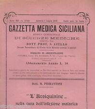 SICILIA_CATANIA_MEDICINA_GAZZETTA MEDICA SICILIANA_AJELLO_PIERANTONI_MALARIA_'13