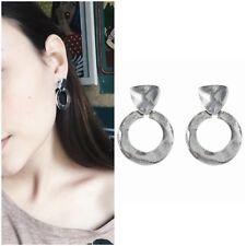 Medium Fashion Bold Metal Drop Earrings Silver