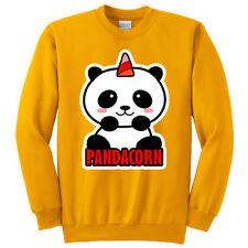 Felpa girocollo donna Pandacorn, Panda unicorno kawaii, gialla!