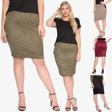 TheMogan Women's Plus Size Comfort Stretch Faux Suede Knee Midi Pencil Skirt