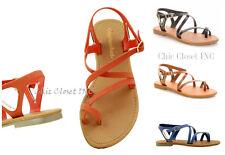 Women Gladiator Roman Open Toe Strappy CrissCross Low Heel Summer Buckle Sandals