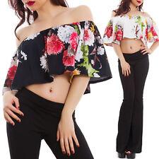 Top donna floreale fiori corto gitana barchetta blusa elegante sexy VB-1102