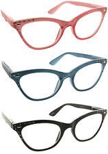 8872db0537f Fiore Cateye Reading Glasses Rhinestone Clear Lens Fashion Readers for Women